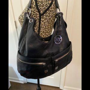 MK black leather purse